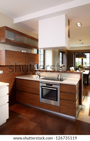 Modern kitchen in luxury apartment #126735119