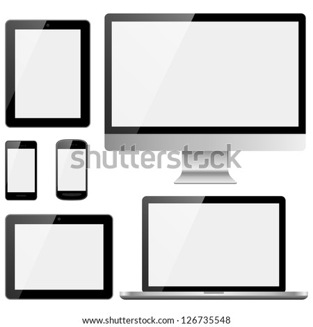 Electronic Devices with White Screens - Electronic devices with white, shiny screens isolated on white background; desktop computer, laptop, tablet and mobile phones.  Eps10 file with transparency.