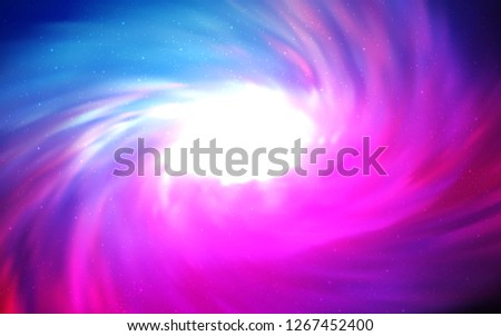 Light Pink, Blue vector background with galaxy stars. Shining illustration with sky stars on abstract template. Template for cosmic backgrounds. #1267452400