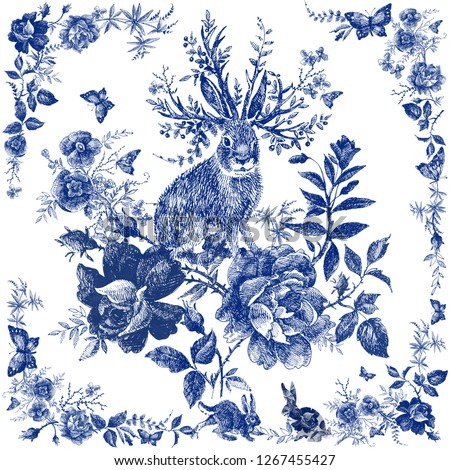 Silk scarf with floral and wild animal.  Hare illustration. Vintage design shawl with roses. Fairytale forest. hand drawn flower line graphics. fashion textile design Indigo color.