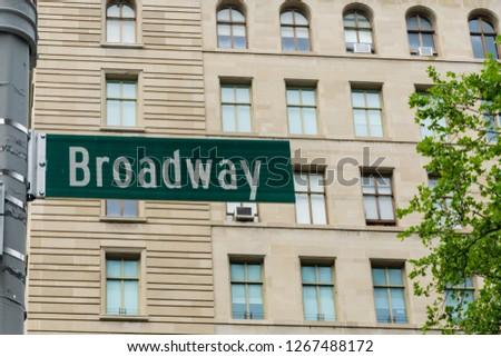 New York, USA - August 20, 2018: Broadway street sign in Manhattan, New York City. #1267488172