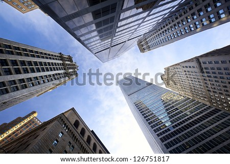 Looking up Lower Manhattan skyscrapers, New York City Royalty-Free Stock Photo #126751817