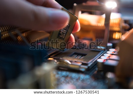 Installation CPU on socket of motherboard #1267530541
