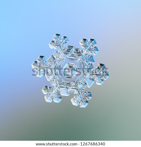 Snowflake sparkling on smooth gradient background. Macro photo of real snow crystal: elegant star plate with fine hexagonal symmetry, short ornate arms, glossy relief surface, complex inner pattern. #1267686340
