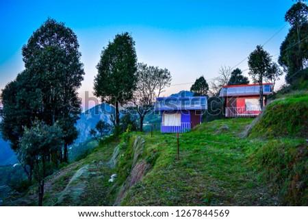 Cottage view Kanatal Uttarakhand #1267844569