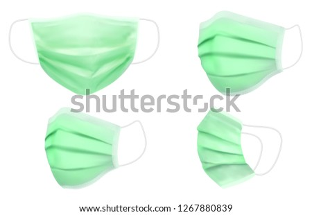 medical mask for doctors and patients, builders and painters. vector illustration #1267880839