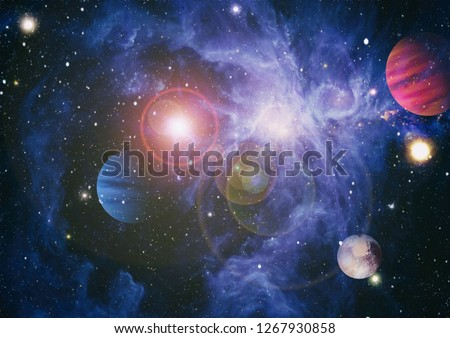 nebula and open cluster of stars in the universe. Elements of this image furnished by NASA. #1267930858