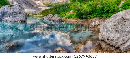 Sorapiss Lake in italian alps, Europe. #1267948657