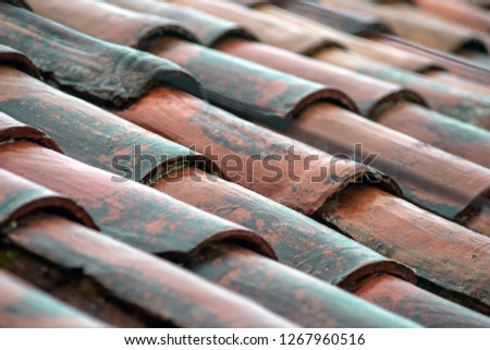 detailed rough roof tiles background after rain in Cusco, Peru #1267960516