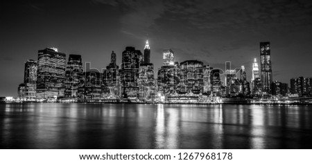 Manhattan, New York city at night view from Brooklyn.  #1267968178