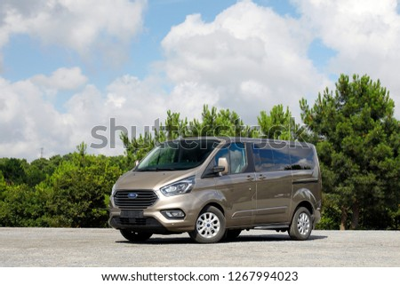 ISTANBUL - DECEMBER 27, 2018: Ford Transit Custom is a light commercial vehicle model since 2012, replacing the smaller front-wheel drive models of the fourth generation Ford Transit. #1267994023