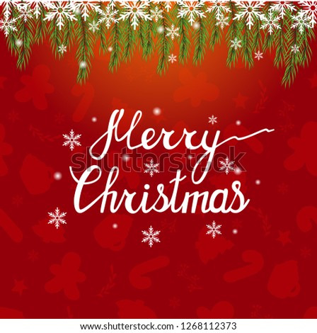 Merry Christmas. Beautiful phrase for your design. Christmas vector beautiful background. Sparkling background with Christmas tree and a garland. #1268112373