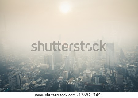 Cityscape of Bangkok the capital cities of Thailand covered by mixture of dust in air pollution, it is unhealthy. #1268217451