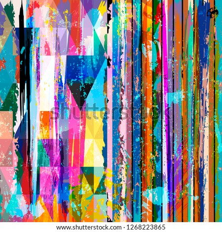 abstract background composition, with stripes, triangles, strokes and splashes  #1268223865