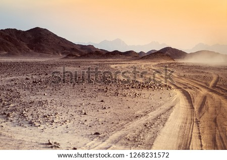 Safari and travel to Africa - extreme adventures or science expedition in a stone desert. Sahara desert at sunrise - mountain landscape with dust on skyline, hills and traces of the off-road car. #1268231572