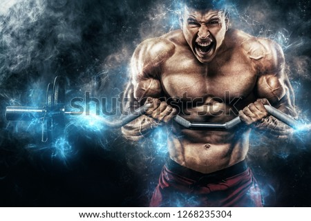 Brutal strong muscular bodybuilder athletic man pumping up muscles with barbell on black background. Workout bodybuilding concept. Copy space for sport nutrition ads. #1268235304