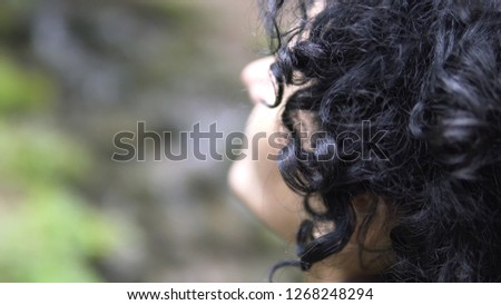 Portrait of Hiker Woman Looking Forward at the Forest nature #1268248294