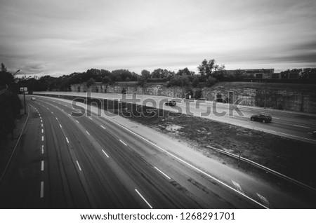 TALLINN, ESTONIA: - August 13, 2018: Multiband road in Tallinn with cars, Estonia #1268291701