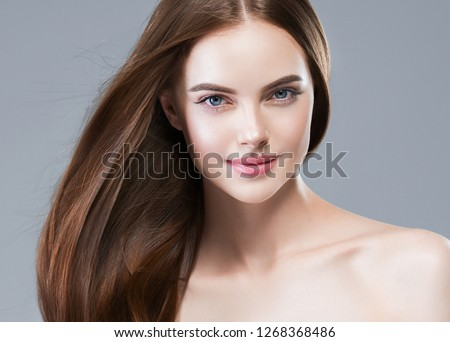 Beautiful hair woman long brunette beauty healthy hairstyle