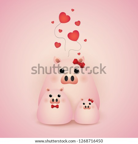 Vector and Illustration graphic  style, Cute cartoon, happy family  pig on a light background. #1268716450
