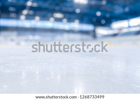 BLURRED ICE HOCKEY STADIUM, ICY SURFACE, WINTER SPORTS BACKGROUND