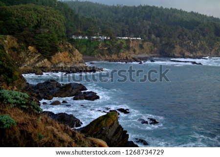 Surf and Cliffs in Northern California Royalty-Free Stock Photo #1268734729