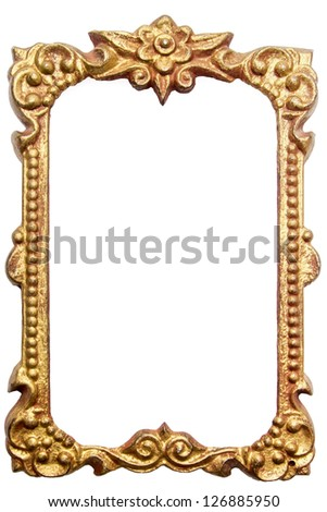 Antique metal picture frame isolated on white background