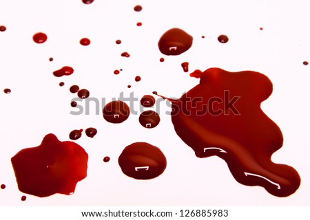 Blood stains on a white background