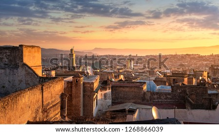 View of the old Medina in Fez ( Fes El Bali ) , Morocco at sunrise. The ancient city and the oldest capital of Morocco. One of the Imperial cities of Morocco. unesco world heritage site #1268866039