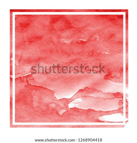 Red hand drawn watercolor rectangular frame background texture with stains #1268904418