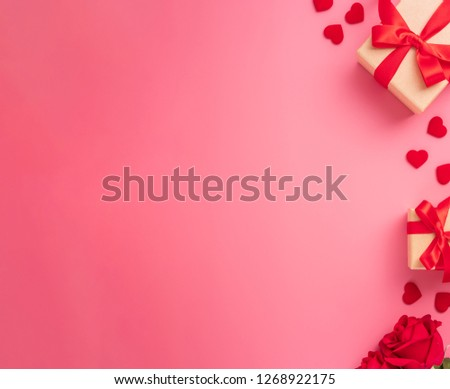 Kraft Gift box with beautiful red ribbon and rose, concept of Valentine's, anniversary, mother's day and birthday greeting, copyspace, topview. #1268922175