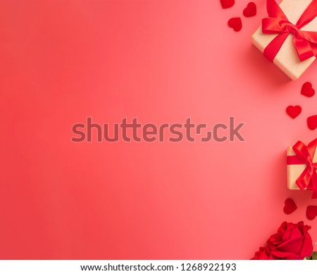 Kraft Gift box with beautiful red ribbon and rose, concept of Valentine's, anniversary, mother's day and birthday greeting, copyspace, topview. #1268922193