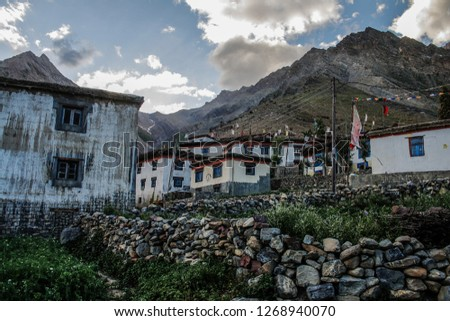 Pin River Valley, Himachal Pradesh / India - August 07 2009: Cycling through the cold desolate desert mountain valley located very high in the rain shadow region of the himalayas. #1268940070