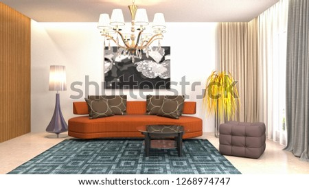 Interior of the living room. 3D illustration #1268974747