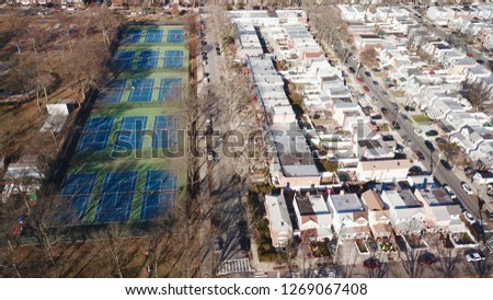 Aerial drone photos from Marine Park Brooklyn with houses and recreation areas #1269067408