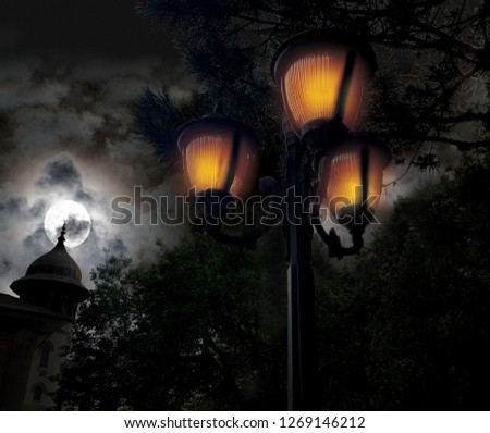 day and night street lamp, Two photo-manipulation from the same point, wrought iron street lamp #1269146212