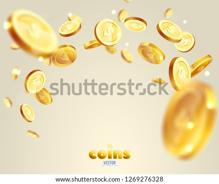 Realistic Gold coins explosion. For your online casino design #1269276328