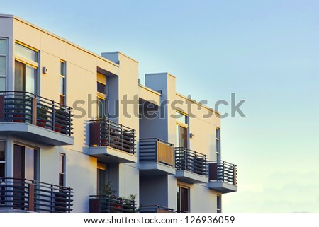 Modern apartment balcony at sunset. #126936059