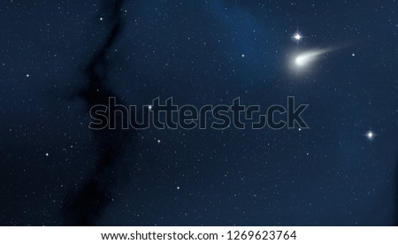 2d illustration. Realistic star pattern. Deep interstellar space. Stars, planets and moons. Various science fiction creative backdrops. Space art. Imaginary cosmic backdrop. #1269623764
