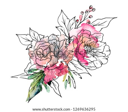 Watercolor flowers, black line art, splash. Floral bouquet for decoration invitation, greeting card, poster and design other print products. Hand painting. Blossom isolated on white background.