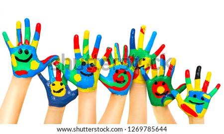 Many coloured children hands #1269785644