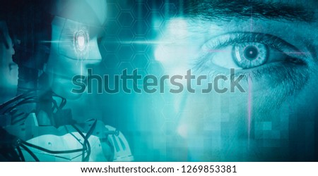 man and machine  concept background Royalty-Free Stock Photo #1269853381
