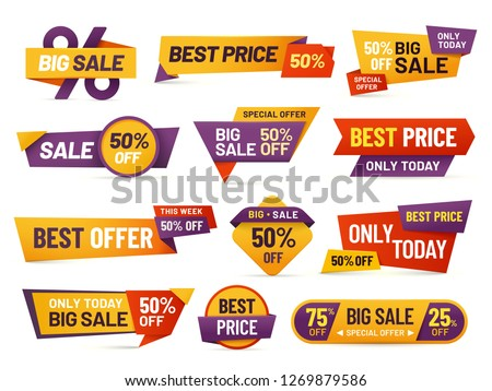 Retail sale tags. Cheap price flyer, best offer price and big sale pricing tag badge design. Limited sales offer label or store discount banner card isolated vector icons collection #1269879586