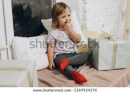 UKRAINE, BILA TSERKVA - DECEMBER 23, 2018; emotions of little girl. Little princess #1269924376