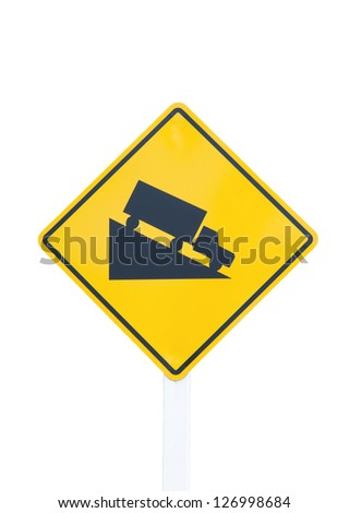 Steep grade hill traffic sign on white background Royalty-Free Stock Photo #126998684