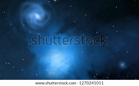 2d illustration. Deep vast space. Stars, planets and moons. Various science fiction creative backdrops. Space art. Alien solar systems. Realistic background #1270241011