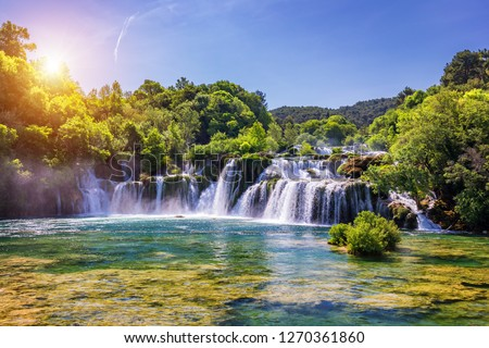 Beautiful Skradinski Buk Waterfall In Krka National Park, Dalmatia, Croatia, Europe. The magical waterfalls of Krka National Park, Split. An incredible place to visit near Split, Croatia. #1270361860