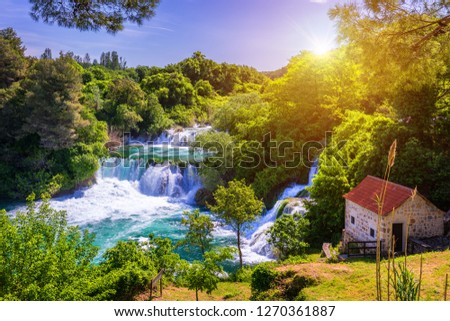 Waterfalls Krka, National Park, Dalmatia, Croatia. View of Krka National Park, Roski Slap location, Croatia, Europe. Beautiful world of Mediterranean countries. Traveling concept background. #1270361887