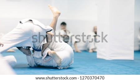jiu-jitsu exercise training for martial art practice instructor doing workout for brazilian traditional jiu jitsu technique Royalty-Free Stock Photo #1270370470