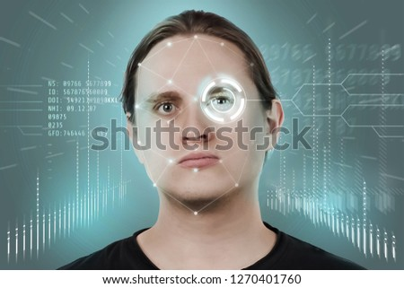Face recognition and human recognition. The concept of computer vision and artificial intelligence. #1270401760